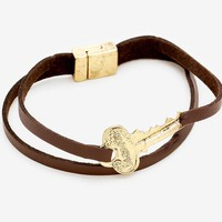 """Message Key Faux Leather Magnetic Bracelet """"Blessed"""""""