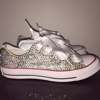 All Star Chuck Taylor Converse Bedazzled In Crystal With White Ribbon Laces