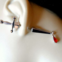 Silver Dagger Earring with Red crystal Drop Briolette - Gothic Earrings / Sword Earrings / Hip Trendy Earrings