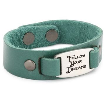 """Dillon Rogers I.D. Band """"Follow Your Dreams"""" Teal Cuff Leather Bracelet - designer shoes, handbags, jewelry, watches, and fashion accessories   endless.com"""