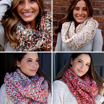 Chunky Multi-Colored Knit Infinity Scarf - 4 Colors Available!