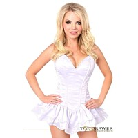 Daisy Corsets Top Drawer White Satin Steel Boned Corset Dress