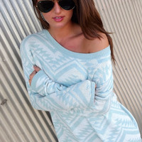 Cozy Aztec Sweater in Mint | The Rage