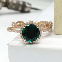 Diamond Wedding Ring Set!Emerald Engagement Ring 14K Rose Gold!7mm Round Cut Treated Green Gemstone,Bridal Ring,Curved twisted matching band