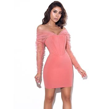 Zofia Salmon Pink Off Shoulder Mesh Sleeve Corset Dress