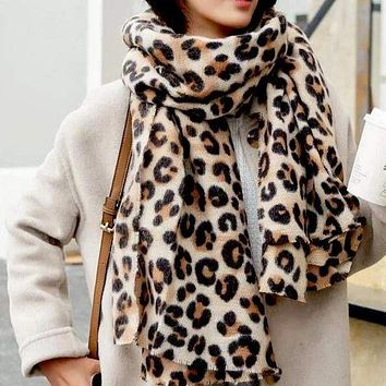 animal leopard print winter warm  blanket scarf shawl light color