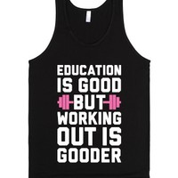 Working Out Is Gooder-Unisex Black Tank