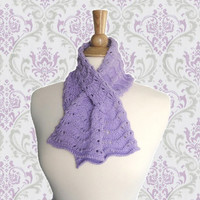 Lavender Purple Keyhole Scarf, Pull Through, Scallop Lace, Neck Scarf, Small Scarflette, Cotton Blend