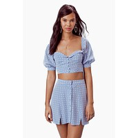 Sweetheart Button Up Mini Skirt - Periwinkle Blue Heart Print