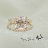 3.50 Ct. Cushion Cut Morganite & Diamond Engagement Ring 14K Rose Gold