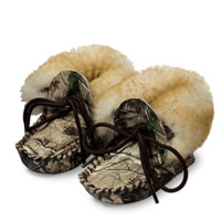 CAMO LEATHER Baby Mocs With Wool