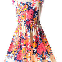 Scoop Neck Sleeveless Floral Print Dress Sundress