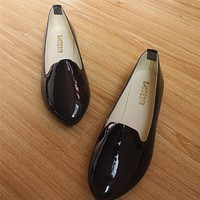 2016 new women fashion flat patent leather round toe work shoes and slip on flats 6 colors in the same shoes plus size 35 - 42