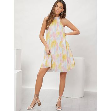 SHEIN Knot Back Tie Dye Halter Dress