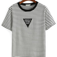 Striped Embroidered Patch T-shirt