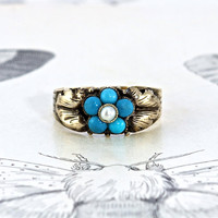 Antique Turquoise & Pearl Halo Ring, Victorian 10k Yellow Gold Forget Me Not Flower Motif, Engagement Promise Commitment Eternal Love Ring
