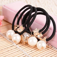 10pcs Big Pearls Gold Plated Star Heart Flowers Black Elastic Ponytail Holders Hair Accessories Girl Women Rubber Band Mixed