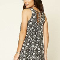 Lace-Up Floral Swing Dress