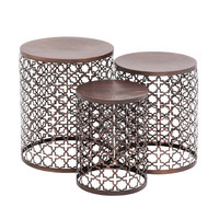 Woodland Imports The Floral 3 Piece End Table Set & Reviews | Wayfair