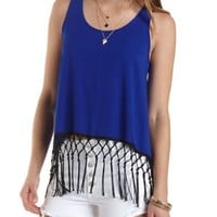 Split Back Fringed Tank Top by Charlotte Russe