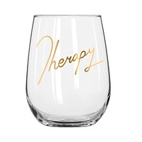 Gold Therapy Stemless Wine Glass - Gold Lettering