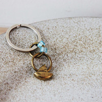 Brass sailboat key chain, tiny sailboat key ring, oxidised brass, boat charm and hoops with sky blue, glass beads, Greek sailboat key chain