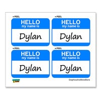Dylan Hello My Name Is - Sheet of 4 Stickers