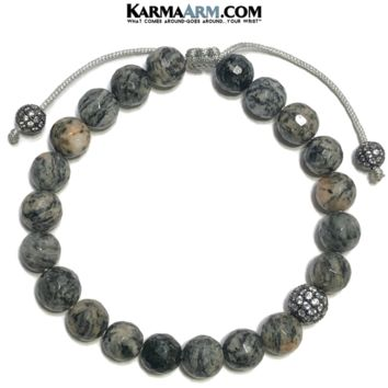 FRESH START | Spiderweb Jasper | CZ Diamond Pave Ball Adjustable Pull Tie Bracelet