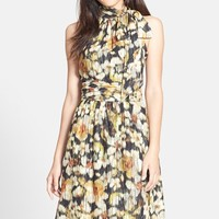 Women's Cynthia Steffe 'Meera' Floral Tie Neck Fit & Flare Dress,