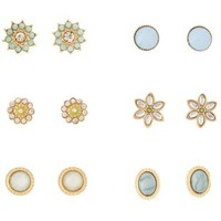 Lt Blue Gem & Flower Stud Earrings - 6 Pack by Charlotte Russe