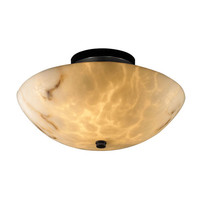 Justice Design Group FAL-9690-35-MBLK-LED-2000 LumenAriaBlack 14-Inch Wide LED Round Semi-Flush Bowl with Ring