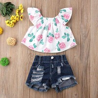Baby Girl Kids Floral Top and Shorts Clothes