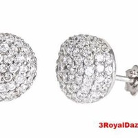 18k w gold layer on Dome Round Shaped .925 Sterling Silver Micro Pave CZ Stud