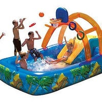 Kids Home Outdoor Inflatable Water Park Pool Yard Play Toy Fun Slide Bouncer