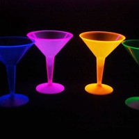 Party Essentials Hard Plastic Two Piece 8-Ounce Martini Glasses, Assorted Neon, 12 Count