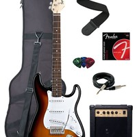 Squier by Fender Bullet Strat Electric Guitar with Tremolo, Rosewood Fretboard Bundle with 10-Watt Amp, Gig Bag, Instrument Cable, Strap, Strings, and Picks - Brown Sunburst