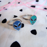 Blue and Green Alien Ring Set