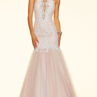 Mermaid Style Long Lace and Tulle Mori Lee Prom Dress