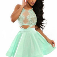 Mint Green Halterneck Skater Dress with Pleated Skirt
