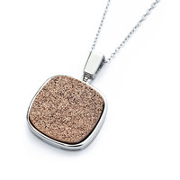 Sterling Silver Copper Color Square Inlay Necklace