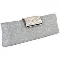 MG Collection Anabel Shimmering Evening Bag, Silver, One Size