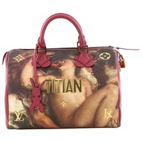 Louis Vuitton Speedy Handbag Limited Edition Jeff Koons Titian Print Canvas 30