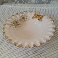 1950s Shabby Pink Trinket, Candy Dish, Decorative Porcelain, Gold Dusted Ruffled Edge, Clear Rhinestone  Center Applied Flowers, k 6915