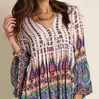 V Neck Boho Print dress/tunic