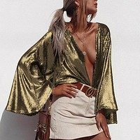 Solid Club Wear Casual Blouse Shirts Top Women Casual Blouses Open Stitch Sexy Thin Gold Color Blouse