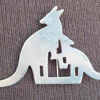 Kangaroo Mom and Baby Sterling Silver Pendant / Brooch, Vintage Mexico Silver Jewelry, Fine Precious Metal Bling, Free Shipping and Gift Box