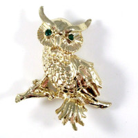 Vintage Owl Brooch on Branch Gold-tone Green Eyes