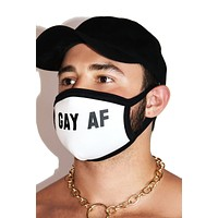 Gay AF Face Mask-White