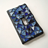 Blue Mosaic Switch Plate Cover - Single - Stained Glass
