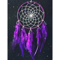 Purple suede dream catcher with purple feathers, white web and & glass bead finish 10cm diameter dreamcatcher hand made